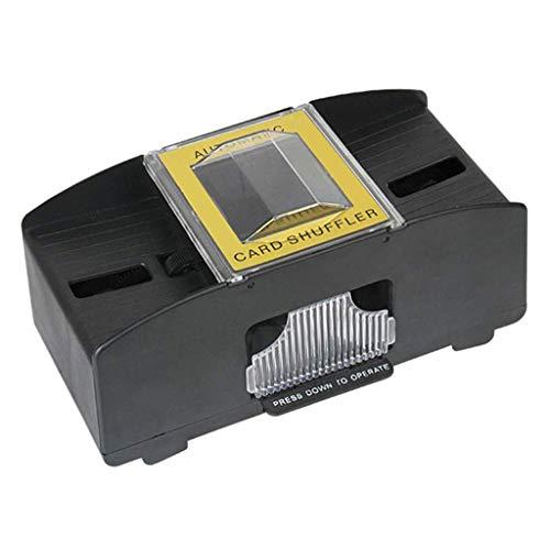 Kartenmischmaschine 2 Decks Automatischer Elektrische Mischmaschine als Kartenmischgerät batteriebetrieben zum Mischen von Karten beim Pokern, Rommé und Skat auf Knopfdruck Karten sortieren (Schwarz)
