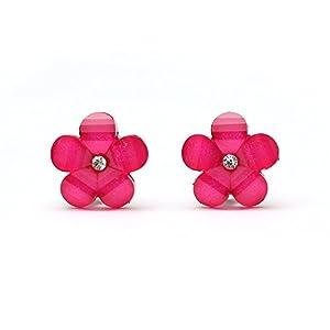 Idin Ohrclips – Blumen in Pink mit Kristalleffekt (17 x 17 mm) – Top Qualität
