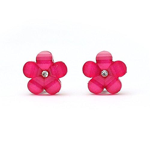 Idin Ohrclips – Blumen in Pink mit Strassstein und Kristalleffekt (ca. 17 x 17 mm)