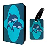 Dolphins Cartoons Print Design Luggage Tag & Passport Holder - P199