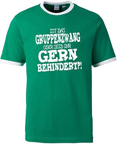 EZYshirt® Ist das Gruppenzwang oder seid ihr gern behindert Herren Rundhals Ringer T-Shirt Grün/Weiss/Weiss