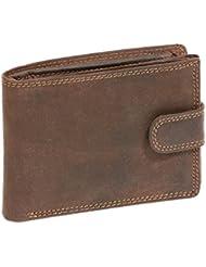 Portefeuille pour homme et femme avec verrouillage externe format paysage Vintage-Style LEAS MCL, cuir véritable, marron - ''LEAS Basic-Vintage-Collection''