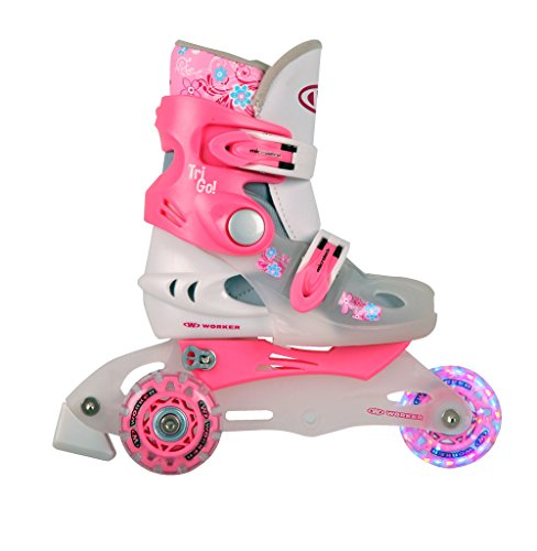 Kinder Inlineskates TriGo pink mit LED Leuchtrollen Gr. 26-29 verstellbar
