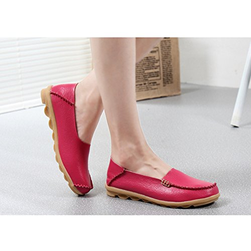 CCZZ Moccasin Femme Cuir Loafers Casuel Bateau Chaussures De Flats Rose