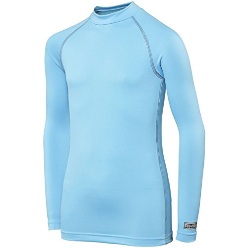 Rhino Base Layer Top Junior - Unisex Long Sleeve Sports Compression Body Fit Top Light Blue LY/XLY