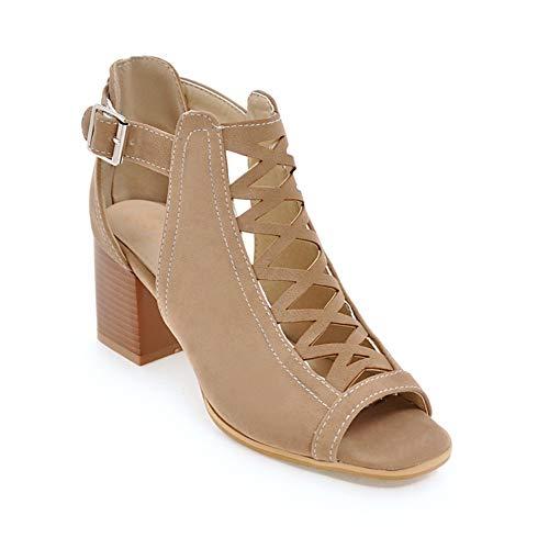 Sandalo Donna con Tacco a Blocco Casual Peep Toe Sandali con Fibbia Scarpe Cinturino alla Caviglia Estivo Nero Verde Beige 34-43 Beige 38