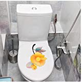 Wandtattoos 3 Stücke Gelb Cartoon Blühender Zweig Toilette Wc Decor Home Room Wandaufkleber 18X22 Cm