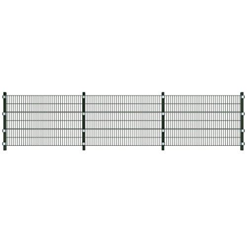 vidaXL 6m Zaunfelder Gittermatten Zaun 1,2m hoch Gitterzaun Metall Gartenzaun Pfosten