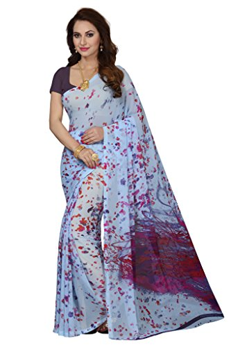 Ishin Faux Georgette Purple Printed Bollywood Women's Saree  available at amazon for Rs.499