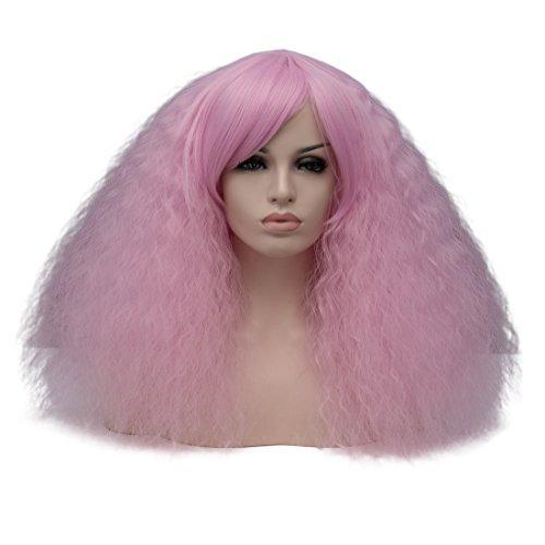 EDAY kurze lockige flauschige Perücken für schwarze Frauen Licht lila Cosplay Kostüm Perücke mit Pony synthetische hitzebeständige Faser Haar Perücke für Halloween Party