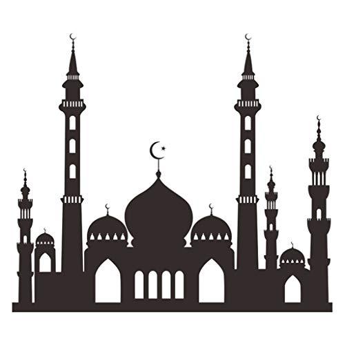 TIREOW Wasserdichte Schwarze Decke Wandaufkleber Abziehbilder für Wohnzimmer Raumdekor Schlafzimmer Ramadan Ramadhan Kareem Islam (C)