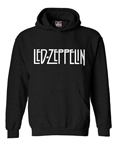 """Felpa Unisex """"Led Zeppelin""""- Felpa con cappuccio rock band LaMAGLIERIA, L, Nero"""