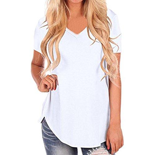 VJGOAL Damen T-Shirt, Damen Mode Kurzarm Lose Beiläufige Knopf Bluse Mädchen Sommer Tank Tops (2XL / 50, D-weiß)