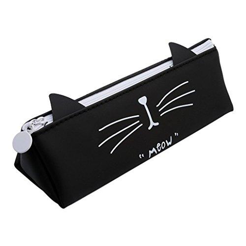 Lindo gato caja de lápices de silicona multifuncional porta lápices portátil bolsa de cosméticos de maquillaje papelería escolar organizador de almacenamiento - kawaii divertido ecológico