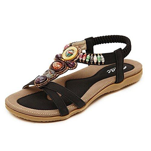 80943fc7f0d4 -23% Women s Round Peep Toe Bead Elastic T-Strap Bohemia Roman Sandals  Summer Beach.