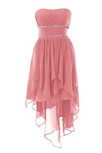 YiYaDawn Asymmetrische Ballkleid Abendkleid Vokuhila Kleid für Damen Größe 36 EU Rosa