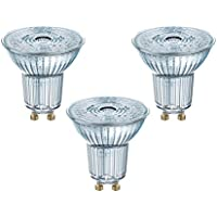 Osram Base Par16 LED Reflector Non-Dimmable Lamp, GU10, Cool White, 4.3 W, Set of 3