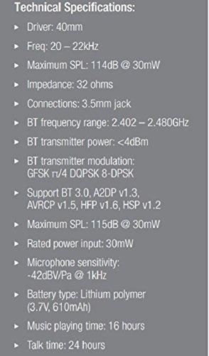 JBL E40 BT Auriculares supraaurales estéreo almohadillados recargables inalámbricos, compatible con dispositivos iOS de Apple y Android, color negro