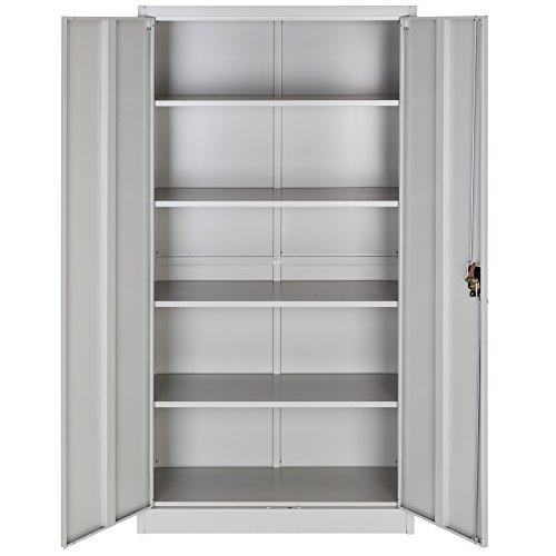TecTake Aktenschrank mit Fächern | abschließbar | 2 Flügeltüren - diverse Modelle - (180x90x40 cm | Nr. 402483) - 3