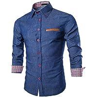 Camisa de Hombre, Camisa Azul, Bolsillo de Cuero, algodón, Lavado Informal, Manga Larga, Camisa de Mezclilla de Manga Larga
