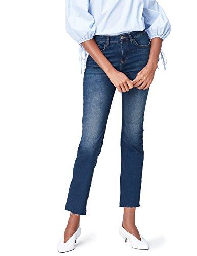 FIND Slim Fit Jeans Damen verkürzt mit Fransen, Blau, W26/L32 (Herstellergröße: X-Small) (Flared-hose Low Rise)