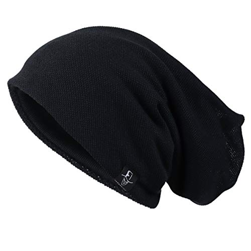 Adidas Jersey Cap (Ruphedy Herren Mütze Slouchy Skull Cap Sommer Dünn Baggy Oversize Strick Hat B301, Herren, schwarz, Medium)