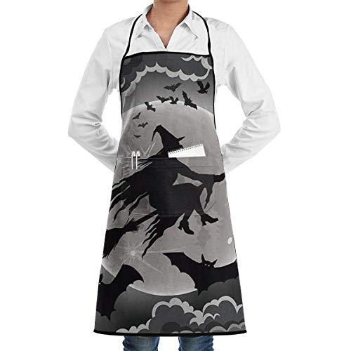 xcvgcxcvasda Einstellbare Latzschürze mit Tasche, Flying Witch Adjustable Cooking Kitchen Bib Schürze with for Women Men Chef Cooking, Baking, Crafting, Gardening, BBQ (24-schürze Sinken)