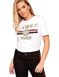 WearAll Women's L'amour Paris Slogan Print Round Neck Short Sleeve Top Ladies T-Shirt 8-14