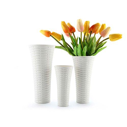 ComSaf Glasvase Weiß Keramik Rattan Design Packung mit 3, Glasfläschchen Kristallglas Glasflaschen in dekorativer Glas Blumenvase Höhe für Blumen, Deko & Hochzeit