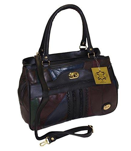 Damen Patchwork Handtasche Vintage Tasche mit zusätzlichem verlängerbaren Henkel Henkeltasche Shopper Schultertasche Umhängetasche Mehrfarbig DH0006 (Mehrfarbig) Mehrfarbig