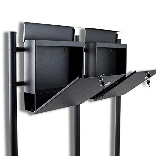 BITUXX® Doppelstandbriefkasten Briefkasten Postkasten Mailbox Letterbox Briefkastenanlage mit integrierten Zeitungsfach Dunkelgrau Anthrazit - 3