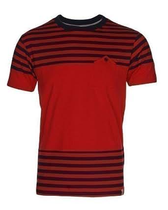 New Mens Branded Horizontal Stripe Printed T-Shirt Top Red Navy S M L XL XXL#XX-Large
