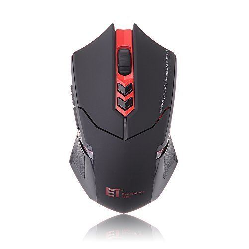 VicTop ET X-08 2400 DPI Einstellbare 2.4G Wireless Maus Funkmaus Professional Gaming Mäuse- Surface Support (Rot)