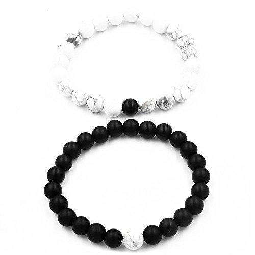Belons, 2 braccialetti elastici per coppie, con perline di howlite e di agata opaca nera, da 8mm, set di braccialetti per la distanza