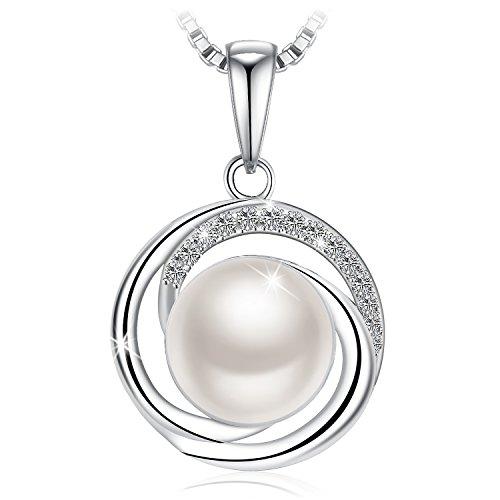 Collana, argento 925, j.rosée bella perla con perla d'aqua e 5a zirconi buon regalo donna gioielle ciondolo con confezione bella 45cm+5cm