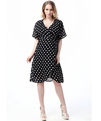 JOTHIN Damen Kurzarm V-ausschnitt Chiffonkleid Maxi Beiläufige Polka Dot Kleid Plus Size (6XL, (Size Polka Kleid Plus Dot)
