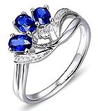 AMDXD 18 Karat Gold Damen Ringe Solitärring Diamantring Silber mit Blau Diamant Saphir Gr.60 (19.1)