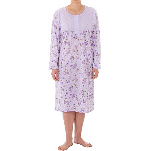 Lucky - Langarm Nachthemd mit großem Blumendruck und hochwertiger Stickerei (2XL, flieder)