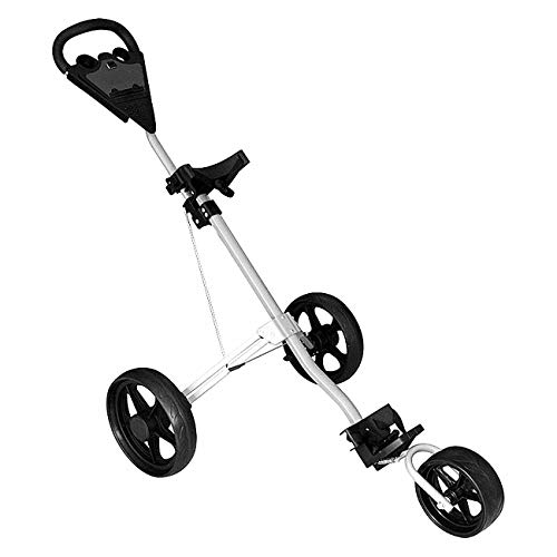 Mitrc 3 Wheel Golf Push Carts, Carts Trolley Golf Trolley Leicht zusammenklappbar und tragbar mit Bremsmitteln Golf Push Cart (Golf Push Cup Holder Cart)