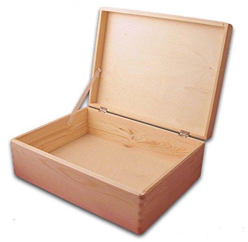 MidaCreativ Aufbewahrungsbox, Holzkiste mit Deckel ohne Grifflöcher Kiefer Gr. 2