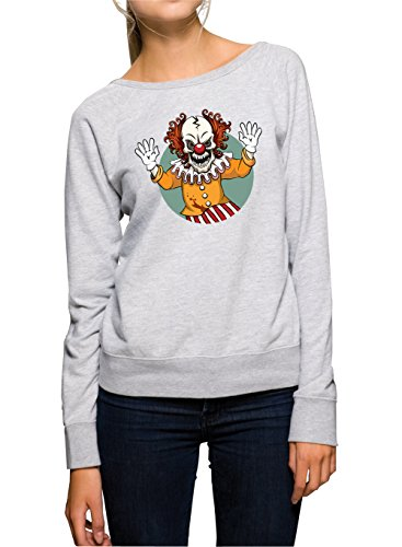 Evil Clown Sweater Girls Grey Certified Freak-M