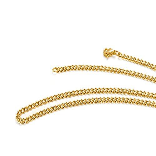 aplstar 18ct Gold Halskette 3,5mm dick Panzerkette Größe: 1618202261cm/4045505560cm
