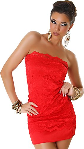 Jela London Kleid Minikleid Spitze Bandeau - Rot , 36/38 (Bandeau London)