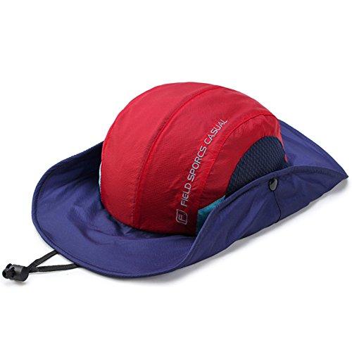 WYYY Chapeaux Hommes Visière Round top Respirant Séchage rapide Protection contre le soleil Protection UV de plein air ( Couleur : Rouge )