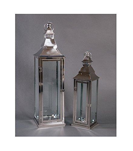 Edelstahl Laternen-2er-Set Gartenlaterne Terrassendeko Windlicht Kerzenhalter