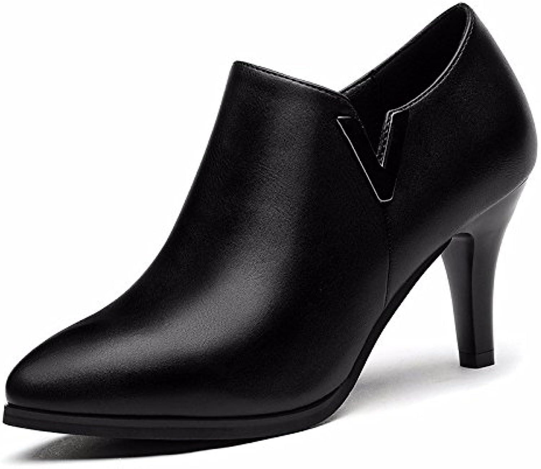 KHSKX-Señaló Los Zapatos De Tacón Alto Zapatos De Cuero De Imitacion De Tacon Fino De Dama Zapatos Negros Bajo...
