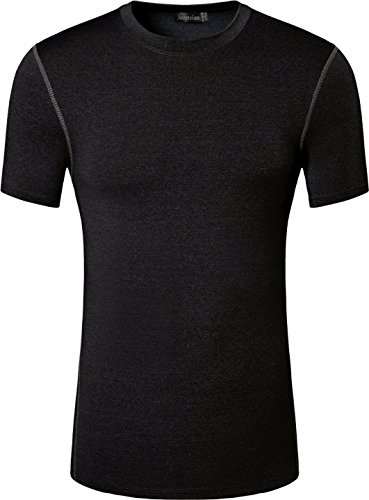 jeansian Uomo Sport Esercizio Formazione Fitness la Maglietta Gym Quick-Drying Muscle Training Workout T-shirt SMF011 Black