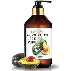 Olio di Avocado BIO Puro al 100% Spremuto a freddo 100 ml Olio Biologico da Massaggio Olio Capelli brillanti Prolungare l'abbronzatura SOS Smagliature, bambini, pelle secca