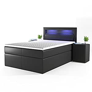 design boxspringbett led doppelbett bett hotelbett ehebett 140x200 cm schwarz k che. Black Bedroom Furniture Sets. Home Design Ideas