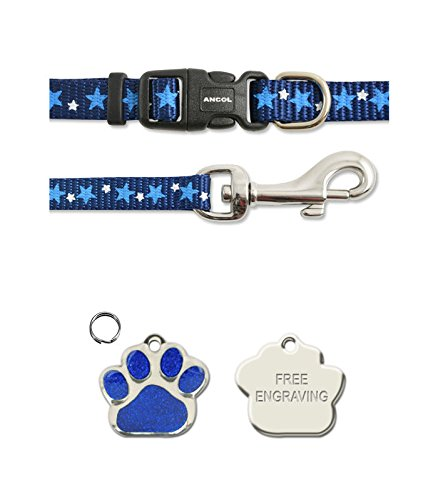 Ancol-Blue-Stars-Small-Bite-Bone-Puppy-Small-Dog-Collar-and-Lead-Set-With-Paw-Print-Shaped-Glitter-ID-Tag